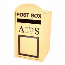 Large Post Box, Royal Mail Design, GOLD MDF, for Wedding Cards etc.